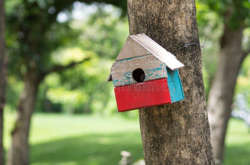 Färgglad voljär i den gröna trädgården royaltyfria bilder