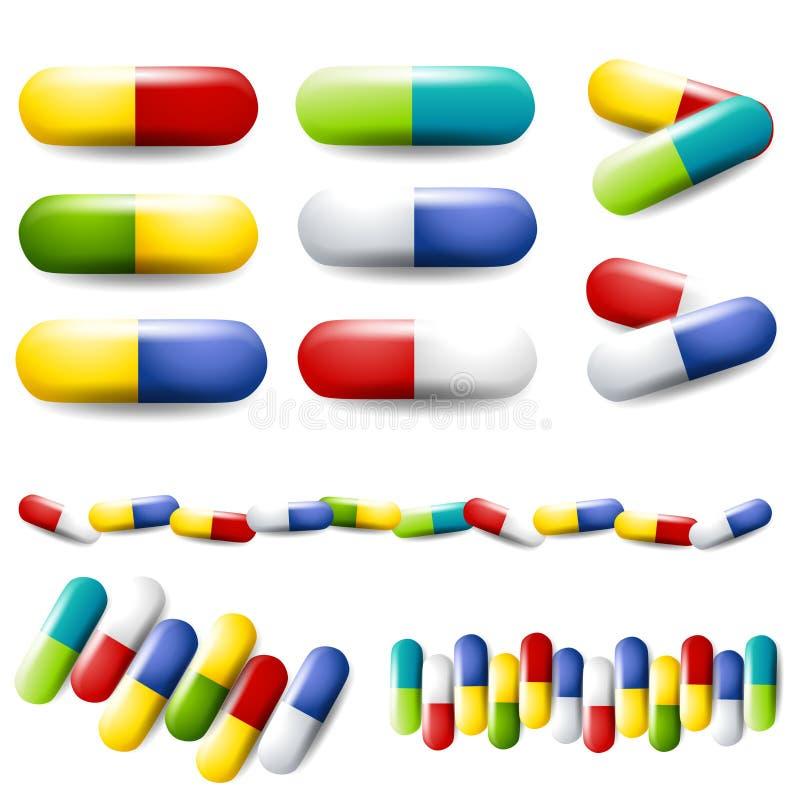 färgglada drogläkarbehandlingpills vektor illustrationer