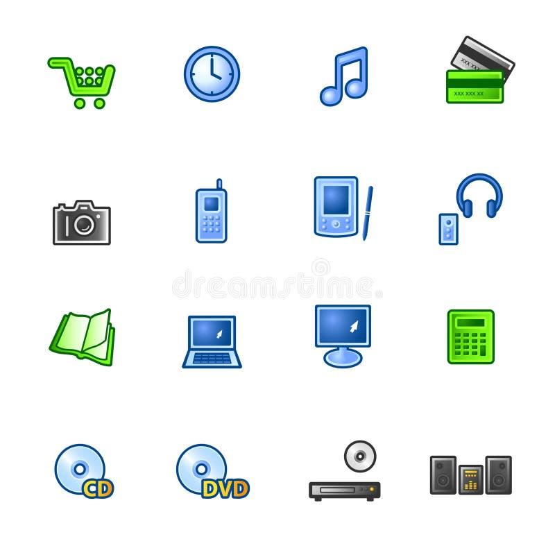 färgglada e-symboler shoppar vektor illustrationer