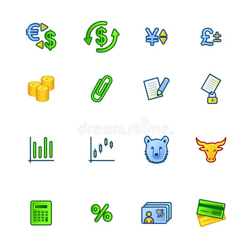 färgglada finanssymboler vektor illustrationer