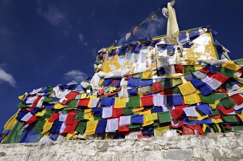 Färgglade bönflaggor under den blåa himlen royaltyfria bilder
