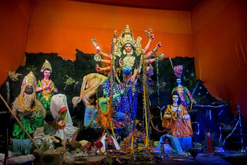 Färgglade Durga Puja Idols, Kolkata, royaltyfri fotografi