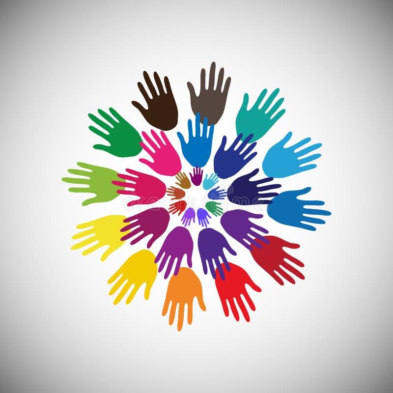 Färgglade händer på vit bakgrund i cirkel, begrepp av fördelande glädje och lycka illustrerar också begrepp av symbolet, folk stock illustrationer