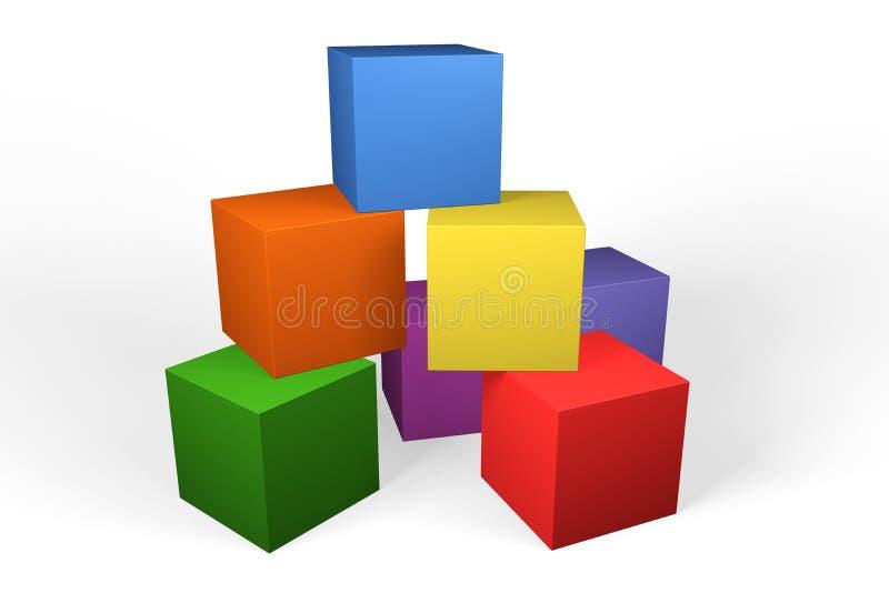 Färgglade kvarter för byggnad 3d arkivfoton