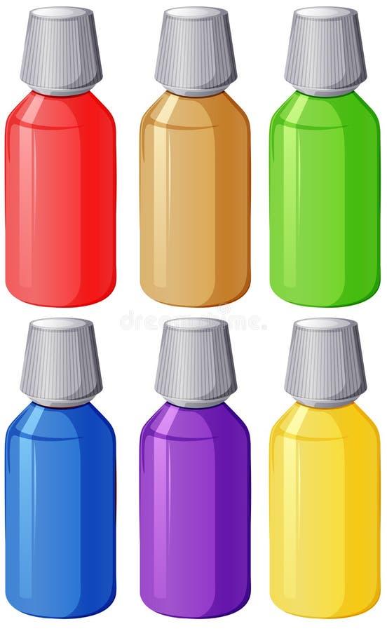 Färgglade läkarundersökningflaskor vektor illustrationer