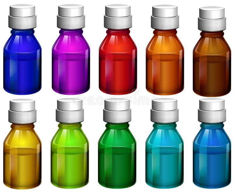 Färgglade medicinflaskor stock illustrationer