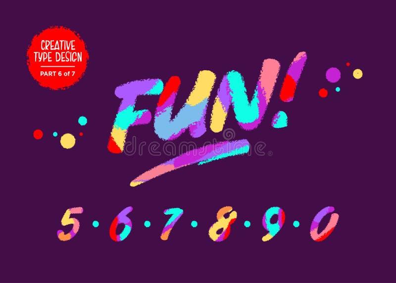 Färgglade nummer för vektor Ungestilsort i tecknad filmstil Roliga texturerade siffror Handskriven stilsort för gulliga barn m vektor illustrationer