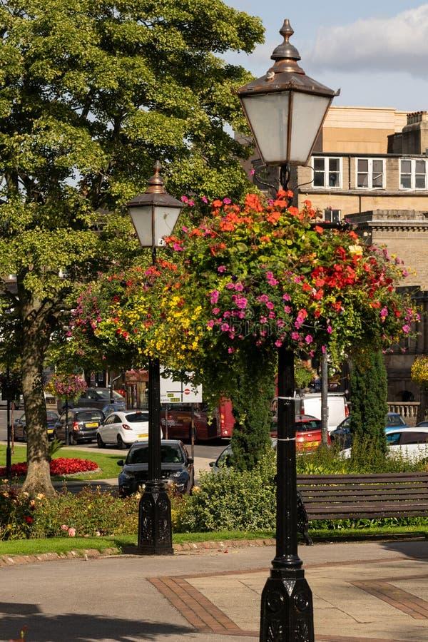 Färgglade sommarblommor på skärm i stadskärna arkivbilder
