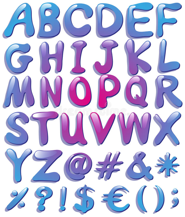 Färgglade stora bokstäver av alfabetet vektor illustrationer