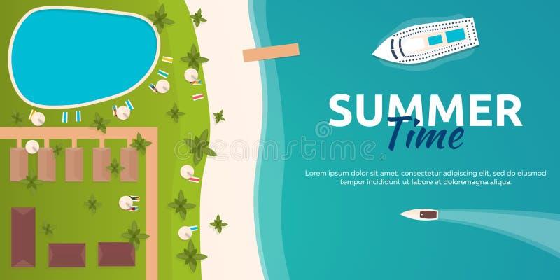 Färgglat lopp till paradiset tropisk strand Kryssningeyeliner Mest bra kryssning Plant baner för vektor för din affär vektor illustrationer