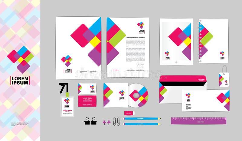 Färgglat med mallen för företags identitet för triangel för din affär A royaltyfri illustrationer