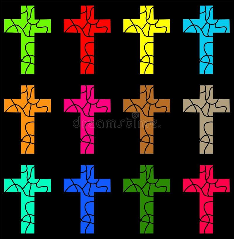 färgglatt kors royaltyfri illustrationer