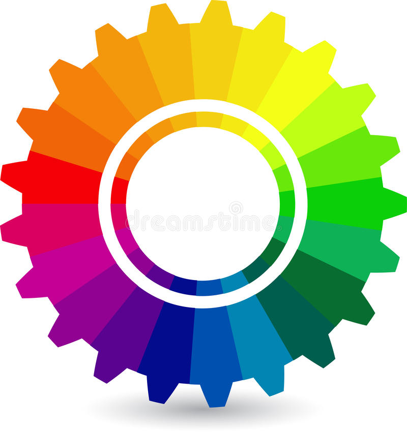 Färgglatt kugghjul vektor illustrationer