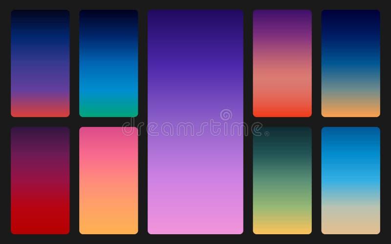 Färghimmelbakgrund på mörker Solnedgång- och soluppgånglutninguppsättning Mjuk färgrik bakgrund för mobilen app abstrakt moderikt stock illustrationer