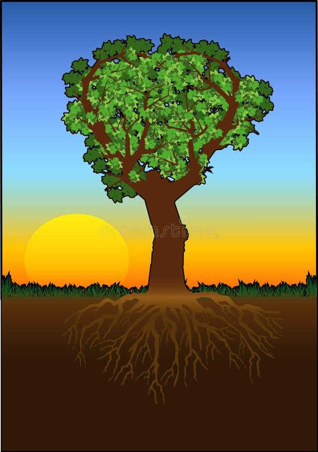 färghjärtatree stock illustrationer
