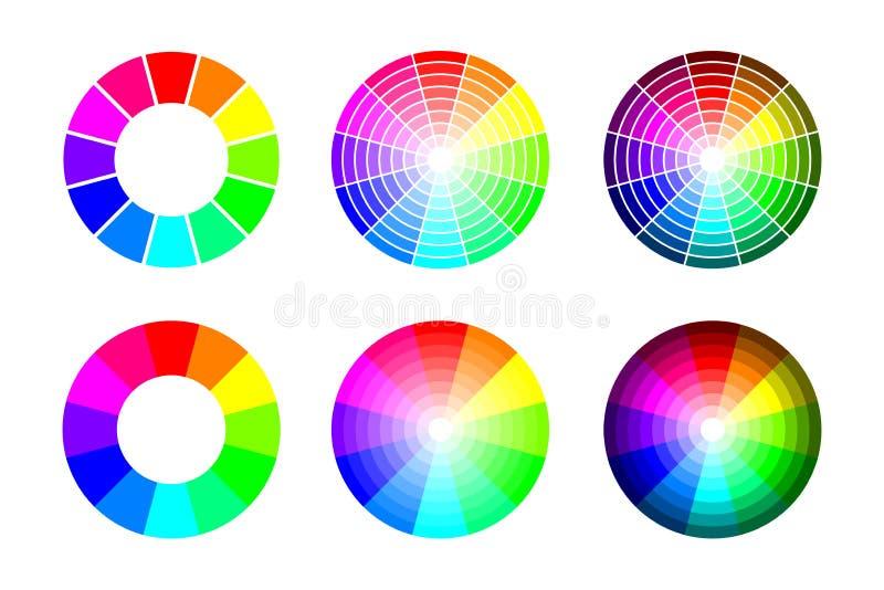 Färghjul från 12 färg rgb, vektoruppsättning på vit bakgrund stock illustrationer