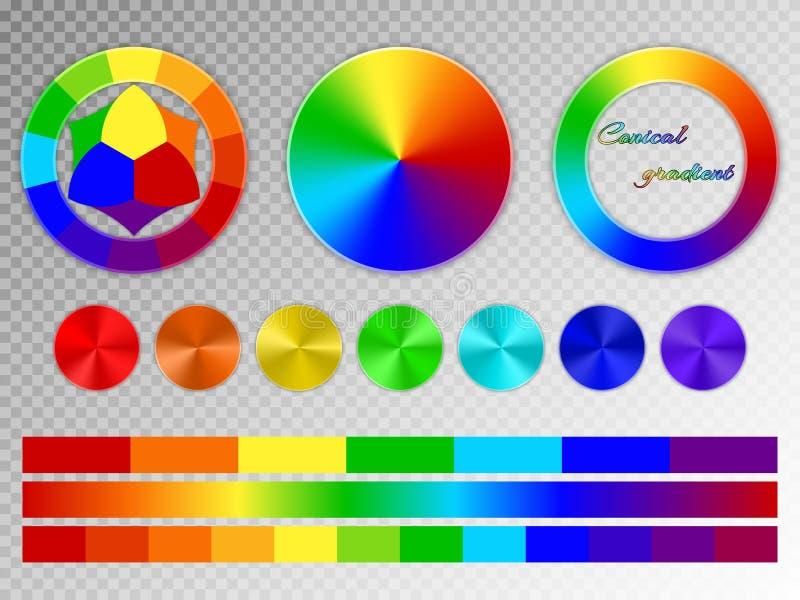 Färghjul på en genomskinlig bakgrund stock illustrationer