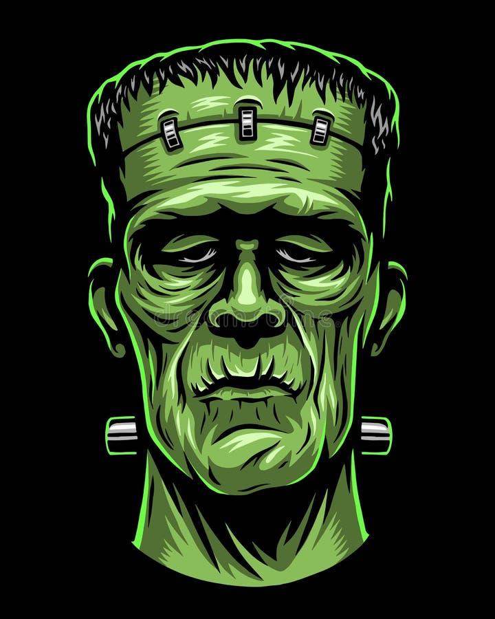 Färgillustration av det Frankenstein huvudet royaltyfri illustrationer