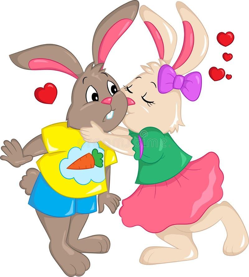 Färgillustration av ett par av kaniner som kysser, med hjärtor i luften, för barns kort för bok, valentin dag- eller påsk, stock illustrationer
