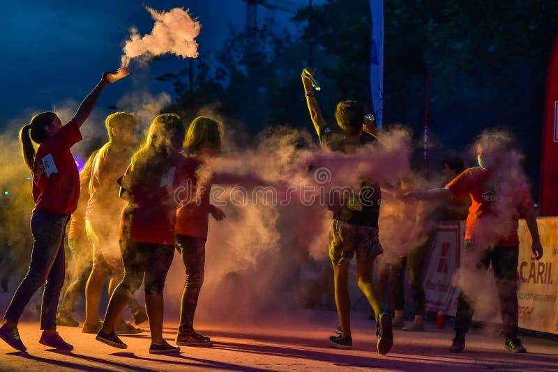 Färgkörningsnatten Bucharest arkivfoton