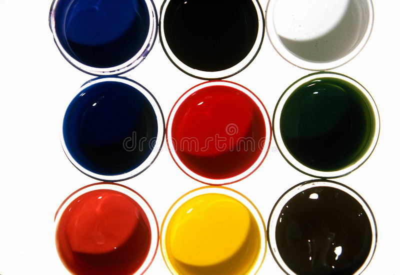 färgkrukar arkivfoto