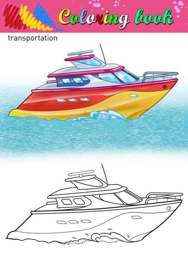 Färgläggning av den moderna yachten royaltyfri illustrationer