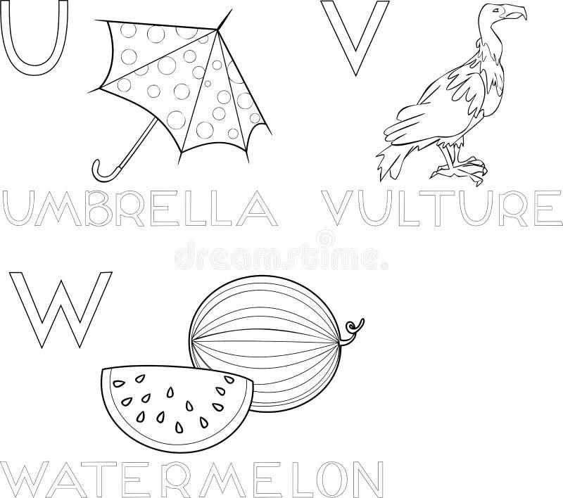 Färgläggningalfabet royaltyfri illustrationer