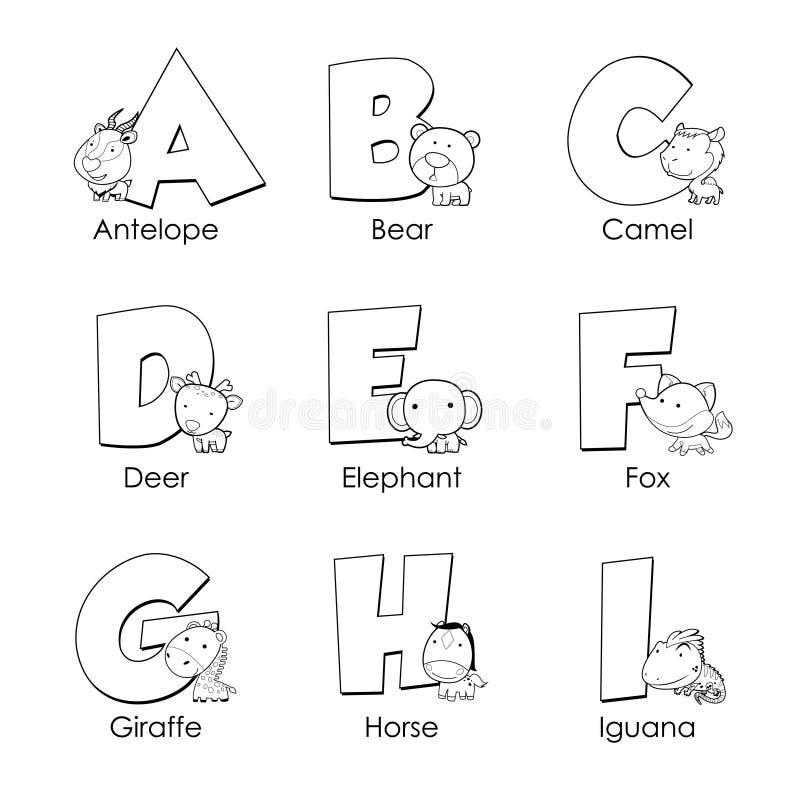 Färgläggningalfabet för ungar vektor illustrationer