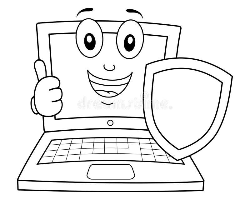 Färgläggningbärbar dator eller anteckningsbok med skölden royaltyfri illustrationer