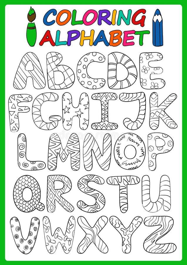 Färgläggningbarnalfabet med tecknad filmversalar vektor illustrationer