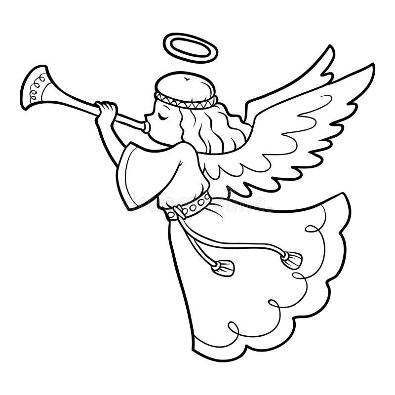 Färgläggningbok, ängel royaltyfri illustrationer
