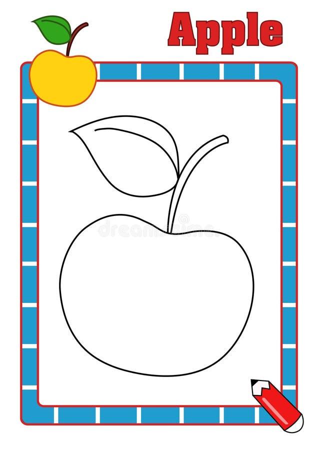 Färgläggningbok, äpple fotografering för bildbyråer