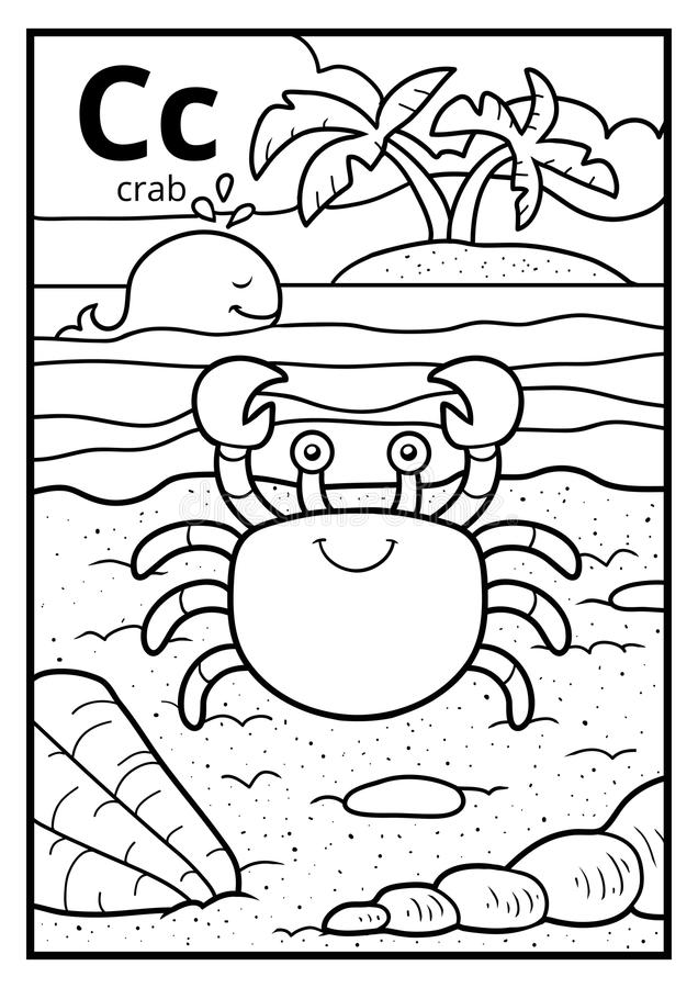 Färgläggningbok, akromatiskt alfabet Bokstav C, krabba stock illustrationer