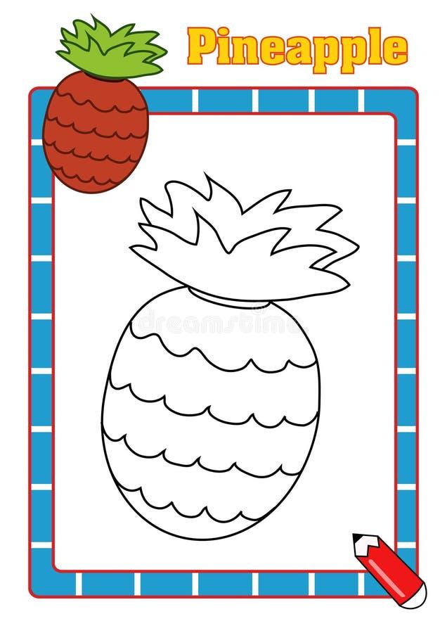Färgläggningbok, ananas royaltyfri bild