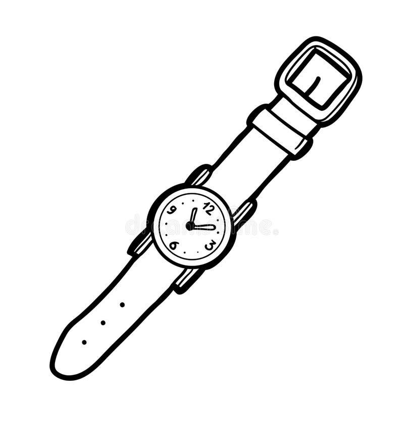 Färgläggningbok, armbandsur royaltyfri illustrationer