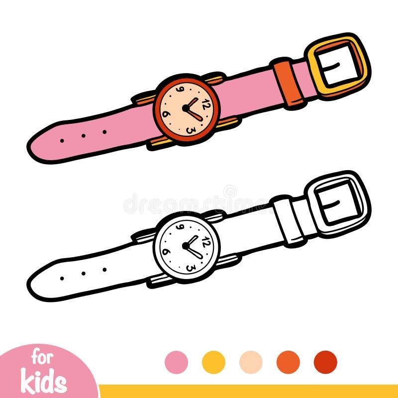 Färgläggningbok, armbandsur stock illustrationer