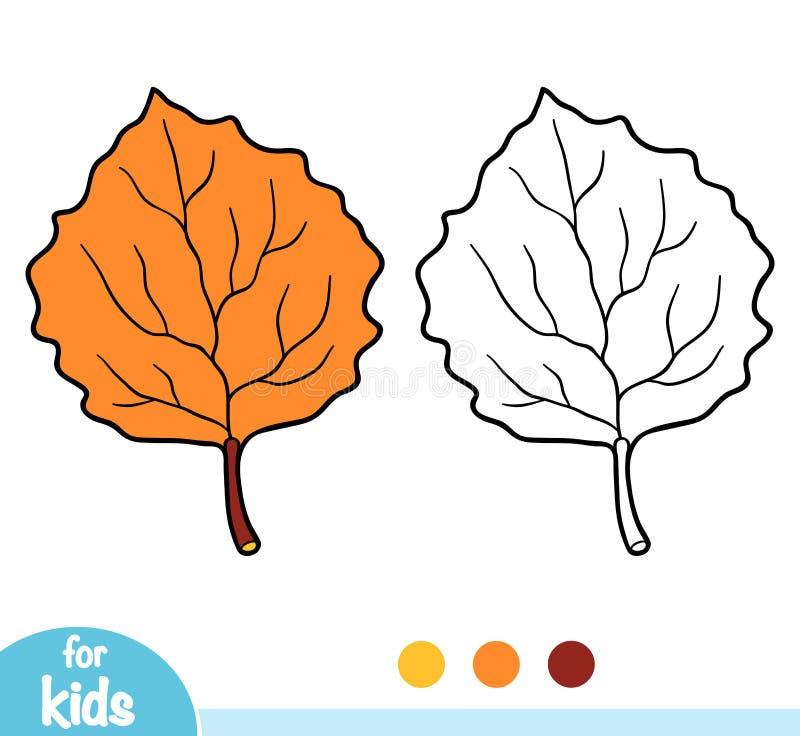 Färgläggningbok, asp- blad vektor illustrationer