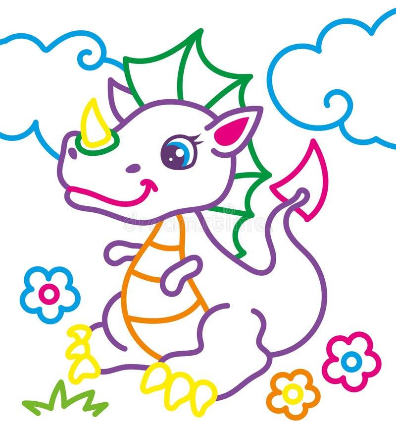 Färgläggningbok av den gulliga draken vektor illustrationer