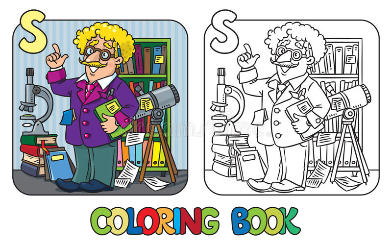Färgläggningbok av den roliga forskaren eller uppfinnaren stock illustrationer