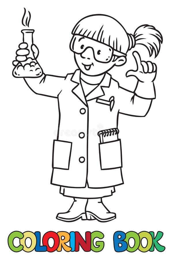 Färgläggningbok av den roliga kemisten eller forskaren stock illustrationer