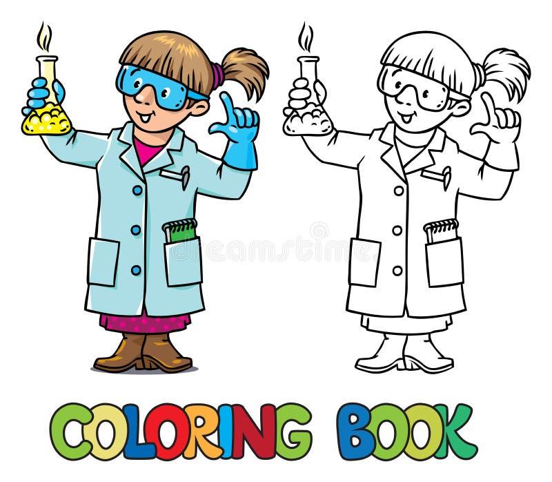 Färgläggningbok av den roliga kemisten eller forskaren vektor illustrationer