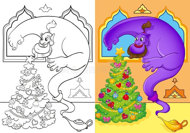 Färgläggningbok av Genie Conjured en julgran vektor illustrationer