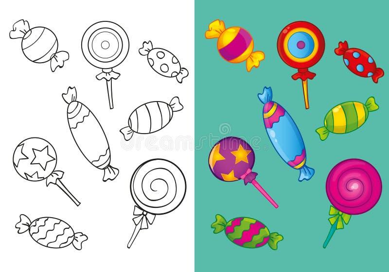 Färgläggningbok av olika söta godisar stock illustrationer