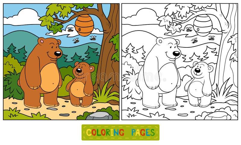 Färgläggningbok (björnar) vektor illustrationer