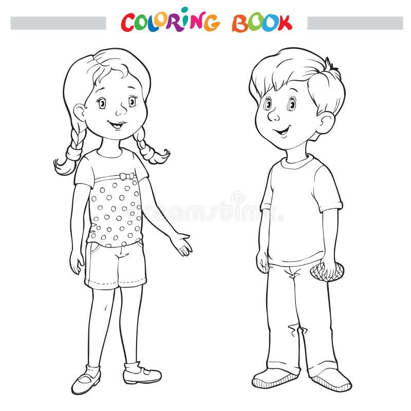 Färgläggningbok eller sida Pojke och flicka royaltyfri illustrationer