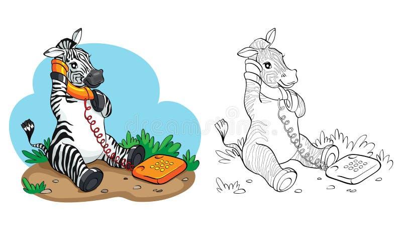 Färgläggningbok eller sida Sebra med telefonen stock illustrationer