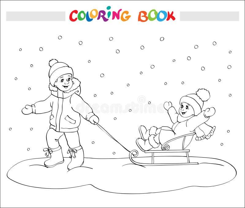 Färgläggningbok eller sida Två ungar - pojke och flicka på släden stock illustrationer