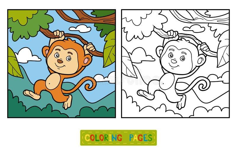 Färgläggningbok, färgläggningsida (apan och bakgrund) royaltyfri illustrationer