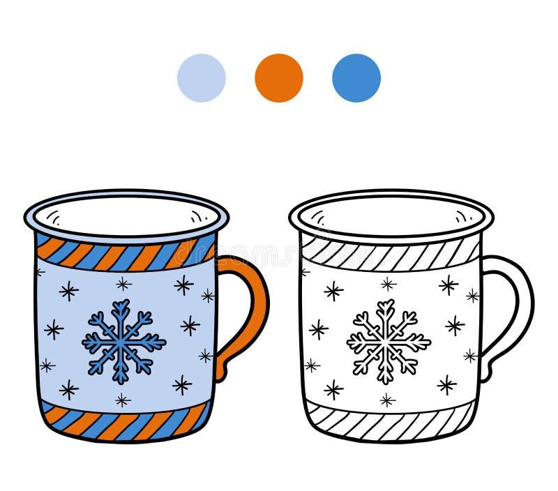 Färgläggningbok, färgläggningsida för barn, kopp vektor illustrationer