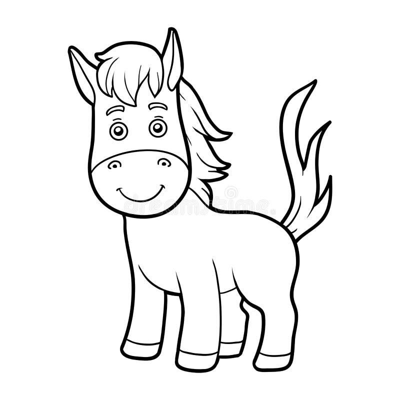 Färgläggningbok, färgläggningsida (hästen) royaltyfri illustrationer